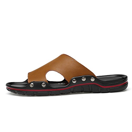 uomo piatto da Scarpe Slip Fashion 2018 Brown sandali uomo Slipper Tacco Light on Fangs da nIaY1wq