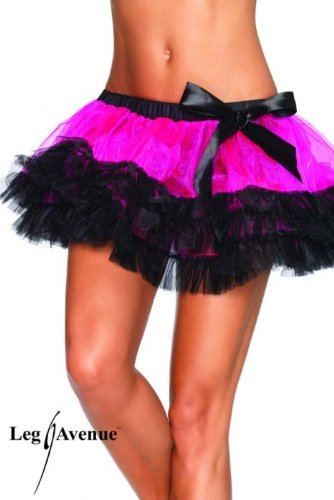 Iridescent Tiered Petticoat Adult Costume Accessory Lt Pink and Black - One Size