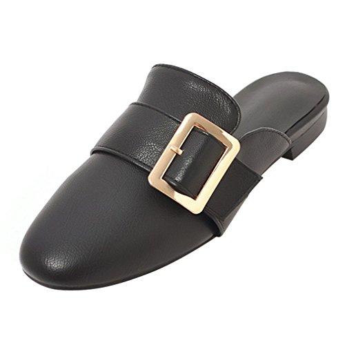 Artfaerie Women's Flat Mules Outdoor Slippers Closed Toe Slingback Slip On Sandals Buckle Summer Ladies Comfortable Shoes Black RkiiR