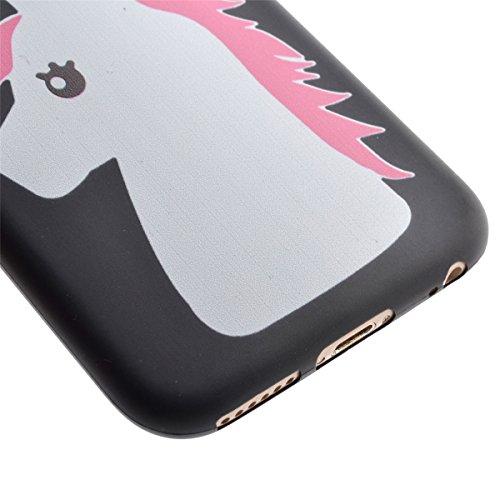Voguecase® für Apple iPhone 5 5G 5S Hülle, Schutzhülle / Case / Cover / Hülle / TPU Gel Skin (Schwarz/Einhorn) + Gratis Universal Eingabestift