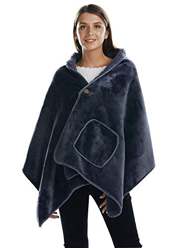 (BARGOOS Thick Wearable Blanket Warm Throw Wrap Shawls with Pockets Fleece Flannel Sherpa Plush for Women and Men Grey Large 79