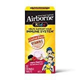 Vitamin C 1000mg - Airborne Kids Very Berry Chewable Tablets (32 Count in a Box), Gluten-Free Immune Support Supplement and High in Antioxidants