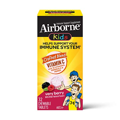 Vitamin C 500mg (per serving) – Airborne Kids Very Berry Chewable Tablets (32 Count in a Box), Gluten Free Immune…