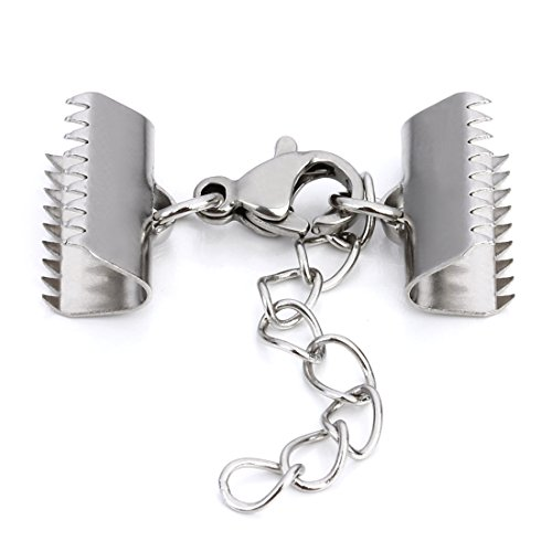 Linsoir Beads Stainless Steel 15mm Ribbon End Clamp Crimps with Lobster Clasp and Extension Chain Flat Crimp End Clamps Cord Ends 10 (Choker Clasp)