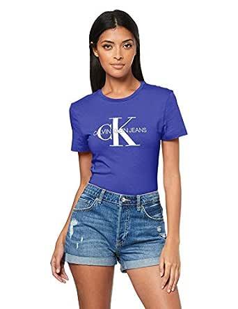 Calvin Klein Jeans Women's Monogram Logo Slim Fit T-Shirt, Blue, XS