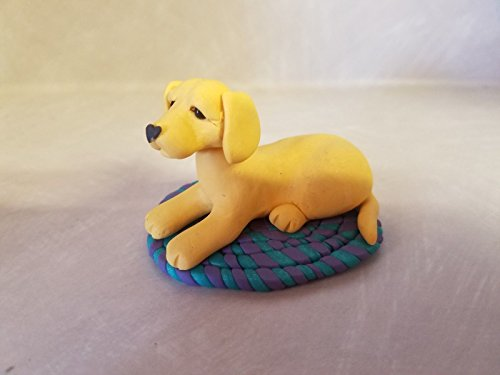 DOG YELLOW LAB on RUG Miniature Figurine HAND MADE ooak SUNFLOWERS Memorial ()