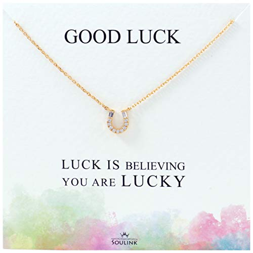 (Soulink Sparkling Lucky Horseshoe Necklace (Yellow Gold))
