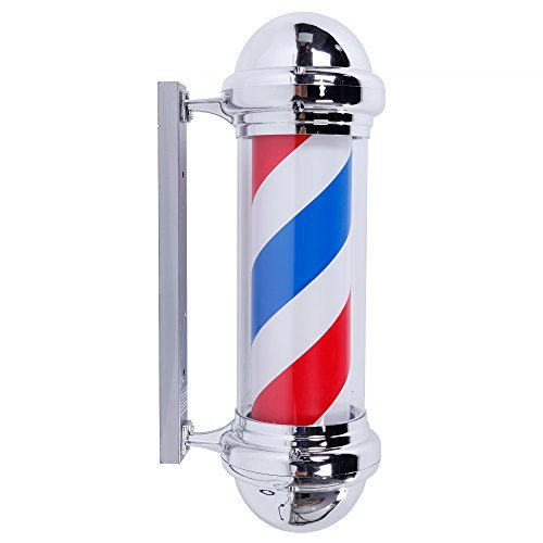 Oshion 28'' Barber Pole Light LED Red White Blue Stripes ...