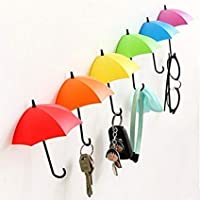 VR SHOPEE 3Piece Colorful Umbrella Wall Hook Key Glasses Wallet Hair Pin Holder Organizer Decorative Wall Decor Home Decoration