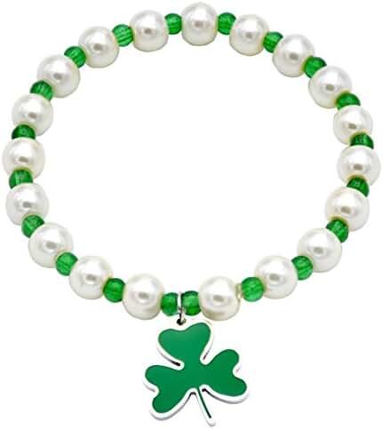 O.RIYA St. Patrick's Day Jewelry Bracelet Shamrock with 4 leaf clover Charm