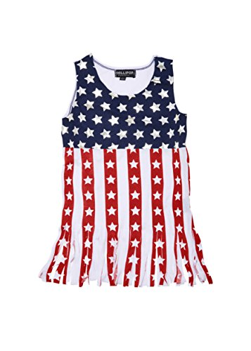 [A33627-AMR-14/16G] Chilipop Tank Top for Girls – Fringe Hem, American Flag Pattern (Girls Top)