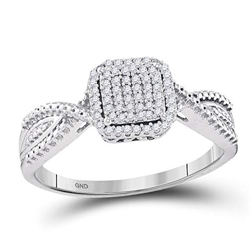 (Jewels By Lux 10kt White Gold Womens Diamond Square Cluster Tapered Bridal Wedding Engagement Ring 1/6 Cttw In Prong Setting (I2-I3 clarity; I-J color))