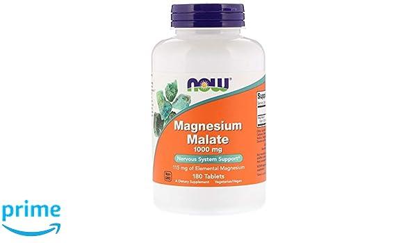Now Foods | Malato de Magnesio (magensium malate) | 1.000 mg | 180 comprimidos veganos | sin gluten y soja: Amazon.es: Salud y cuidado personal