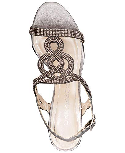 Caparros Womens Pharrell Leather Open Toe Special, Pewter Metallic, Size 7.5