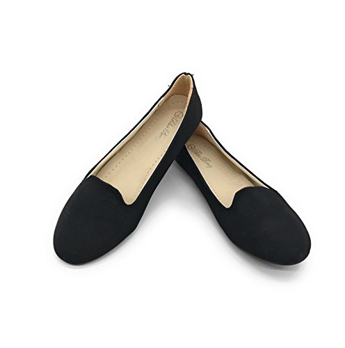 Blue Berry EASY21 Women's Casual Flats Fashion Ballet Shoes Faux Leather,Black31,Size 5.5