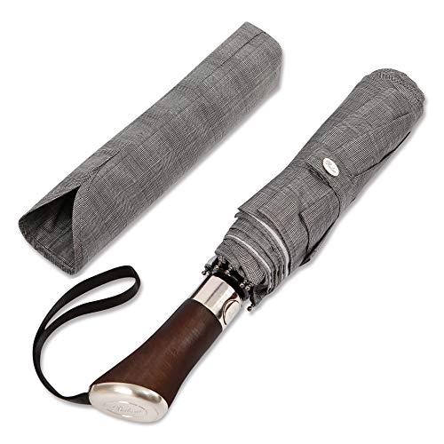(Designed in UK) Balios Travel Umbrella | Luxurious Golden Rosewood Handle | Auto Open & Close | Windproof Frame | Single Canopy | Automatic Folding Umbrella | Men's & Ladies (Gray Glen Plaid)