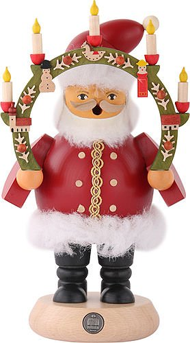 German incense smoker Santa Claus under candlearch, height 19 cm / 7 inch, original Erzgebirge by Mueller Seiffen by ISDD Cuckoo Clocks