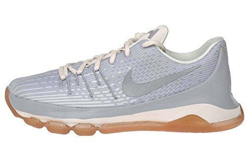 Nike Kids KD 8 GS, WOLF GREY/ METALLIC SILVER-WHITE, Youth Size 7