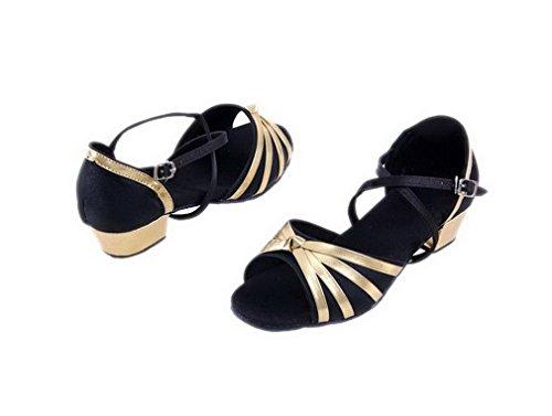 Schuhe Salsa Standard Damen Satin Mädchen Ballsaal Latein Tanzschuhe ELE GENS Schwarz wTpxSq87a