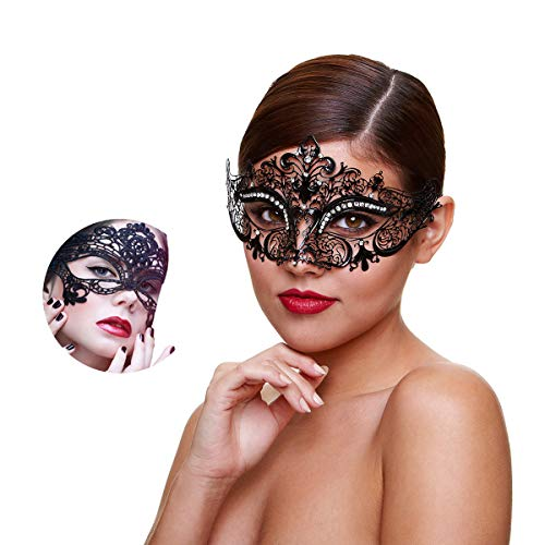 Masquerade Mask for Women Shiny Rhinestone Venetian Party Prom Ball Metal Mask (Kitty) -