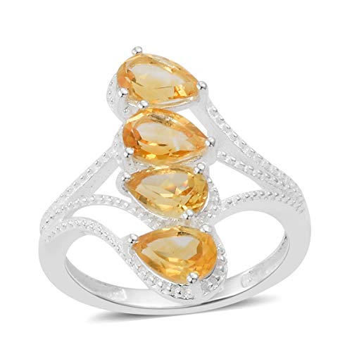 925 Sterling Silver Pear Citrine Statement Ring for Women Jewelry Gift Size 7 Cttw 1.2
