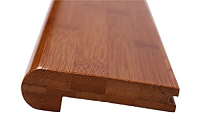 """2 Pcs Of 12LFT AMERIQUE Pre-Finished Solid Horizontal Carbonized Bamboo Stair Nose, 2pcs, L: 72"""" x W: 3-1/2"""" x Th: 5/8"""" per pc"""