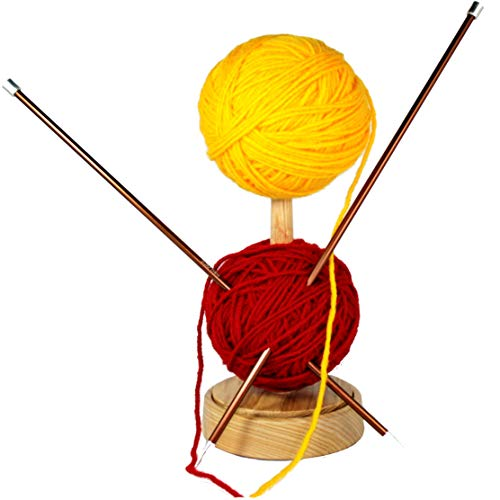 Large Wooden Spinning Yarn Ball Holder. Wool Skein Thread Dispenser. Bobbin Cone Spool Storage Spindle Stand. Wood Knitting Accessories Tools. Adult Beginner Crochet Project Kit by BarvA (Image #3)