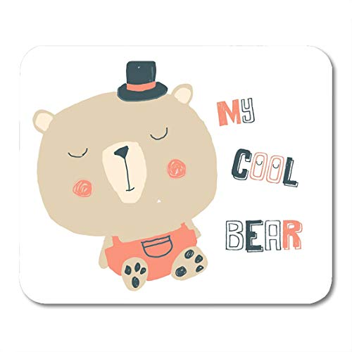 Nakamela Mouse Pads Cartoon Embroidery Cute Teddy Bear on Striped Design Boy Little Mouse mats 9.5