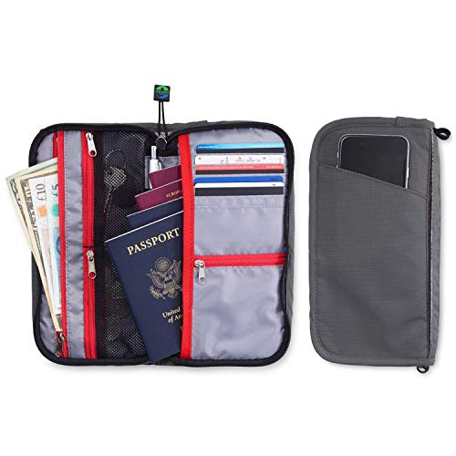 (Travel Wallet Organizer For Family - Fully Embedded RFID Blocking Fabric - Zippered Portfolio Pouch for up to 6 Passports)