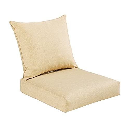 Bossima Indoor/Outdoor Light Yellow/Cream Deep Seat Chair Cushion Set  Spring/Summer Seasonal Replacement Cushions