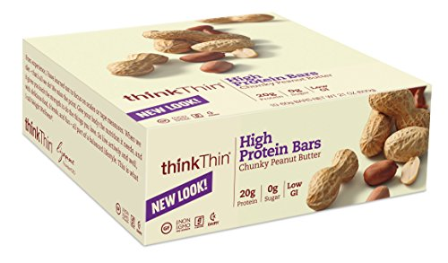 thinkThin Chunky Peanut Butter, sans gluten, bars 2,1 onces (paquet de 10)