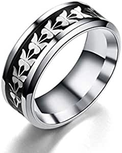 Butterfly ring for unisex silver and black size 13
