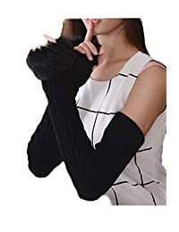 YACUN Women's Winter Cold Weather Knit Fingerless Long Arm Warmer Gloves Black F