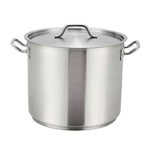 Winco SST-8, 8-Quart 6.75-Inch High 9.5-Inch Diameter Stainless Steel Stock Pot With Cover, Master Cook with 5 Millimeter Thick Aluminum Core ()