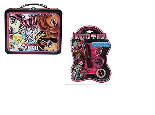 Monster High Metal Tin Storage Box with Faces and Hair Streaker Bundle