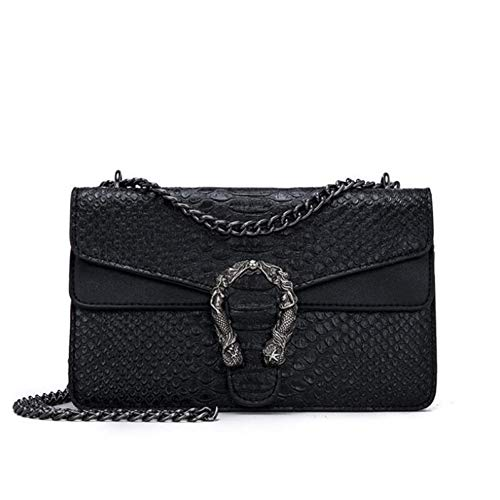 LHKFNU Women Serpentine Crossbody Bag Designer Fashion Brand PU Leather Chain Flap Snake Embossed Lady Clutch Shoulder Bags