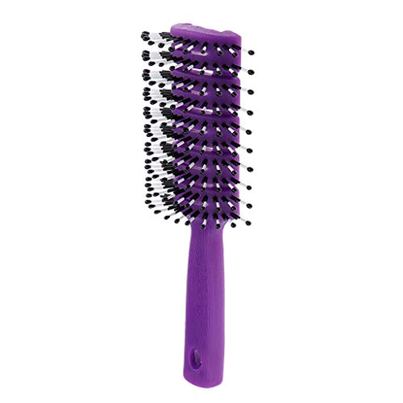 穴赤外線咲くF Fityle ヘアブラシ ユニセックス 静電防止櫛 ヘアケア ヘアスタイリング ヘアコーム 3色選べ - 紫