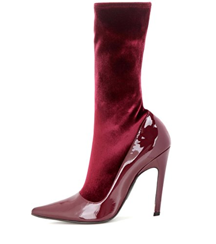 NVXIE Women's Mid-Calf Socks Boots Stiletto High Heels Pointed Stretch Velvet Stitching Patent Leather Ladies Boot Autumn Winter Large Size 35-45 WINERED-EUR38UK55 rEjI1O0jV