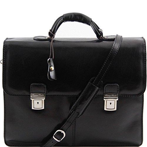 Tuscany Leather - Bolgheri- Portafolios en piel con 2 compartimentos Negro - TL141144/2 Negro