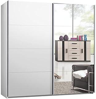 Kleiderschrank weiß mit spiegel  Schwebetürenschrank, Kleiderschrank, ca. 200 cm, Weiss mit Spiegel ...