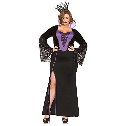Evil Queen Of Hearts Halloween (Leg Avenue Women's Plus-Size 2 Piece Evil Queen Costume, Black/Purple,)