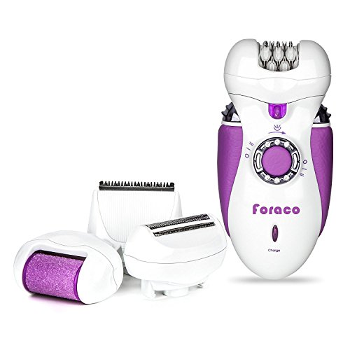 Epilator for Women, Foraco 4 in 1 Rechargeable Electric Hair Removal Epilator with Electric Razor, Wet & Dry, Cordless (Purple)