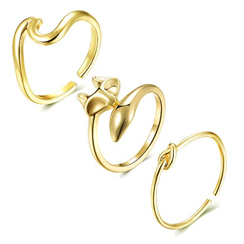 choice of all 3Pcs Arrow Knot Wave Rings for Women Simple Adjustable Rings Set (I:1999-g)