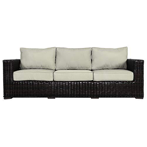 Envelor Santa Monica Outdoor Patio Furniture Sofa Chair Lightweight Wicker Rattan Base Includes Natural Sunbrella Cushions (Sofa Rattan Natural Garden)
