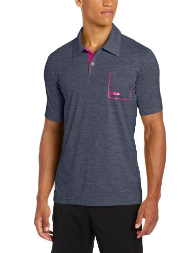 (adidas Golf Men's Climalite Angular Heather Pocket Jersey Polo, Navy Heather/Raspberry, XX-Large)