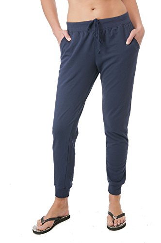 Drawstring French Terry Joggers With Front Pockets (Large, Navy)
