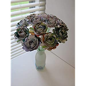 "Scalloped Comic Book Paper Flowers Bunch, 1 Dozen 1.5"" Roses on Stems, Cartoon Theme Bridal Shower Decoration, Home Decor, Superhero Birthday Party Decor Centerpiece 3"