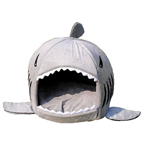 Egmy Shark Shape Pet Dog Puppy Cat House Bed Warm Pet Product House Shelter Cozy Nest Mat Pad Autumn Winter (L, Gray)