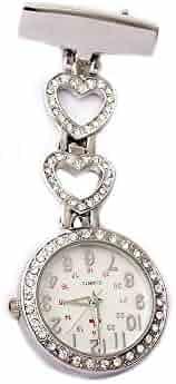 GORBEN Ladies Heart Steel Crystal Nurse Doctor Paramedic Tunic Brooch Pocket Watch Silver