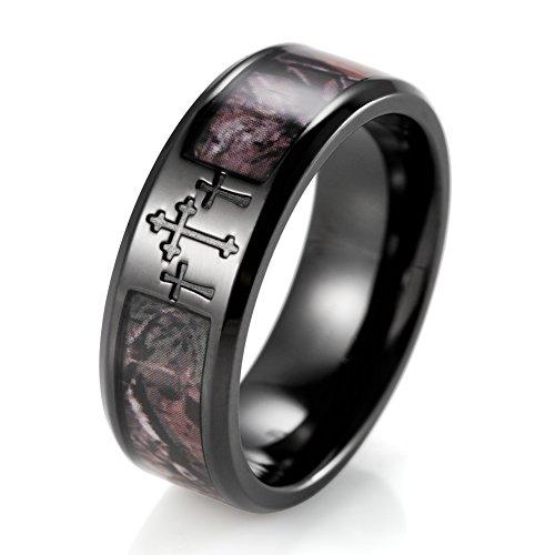 SHARDON Mens 8mm IP Black Titanium 3 Crosses Real Forest Camo Ring